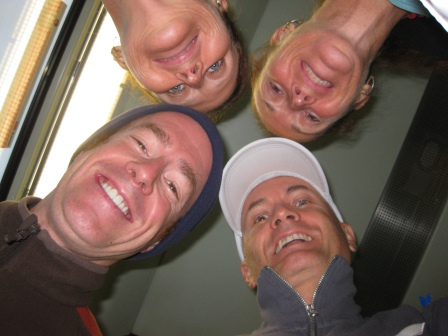 Patrick, Diane, Werner, and Henny ot the train to the start
