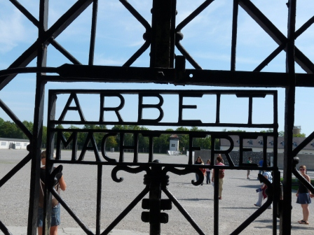 "Front Gate of Dachau with words ""Arbeit Macht Frei"""
