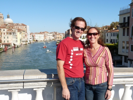 Patrick and Diane in Venice, with Patrick's hair blowing in the wind