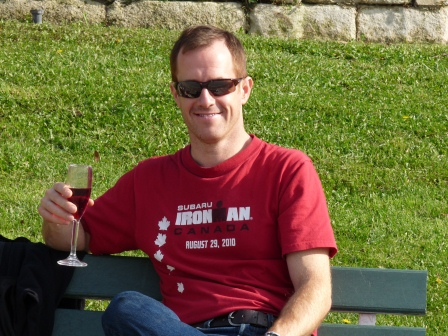 Patrick drinking wine at picnic lunch in Avignon