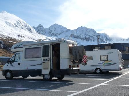 Our RV parked at ski resort Pas de la Casa
