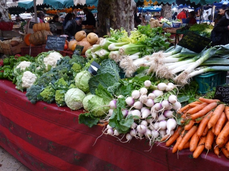 Produce at morning market in Aix-en-Provence