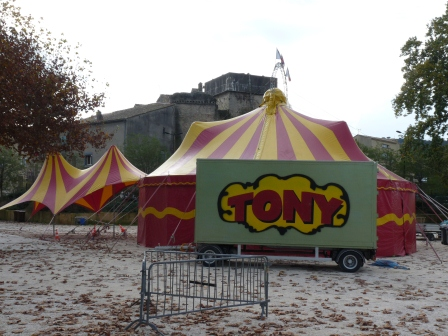 Tent and sign for a small Circus in Pont du Gard, France