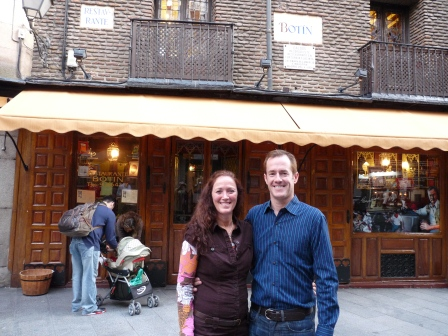 Diane and Patrick outside restaurant after late lunch