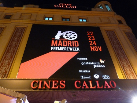 Large screen above Cines Callao showing advertising for Madrid Premiere Week