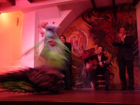 Flamenco dancer in green dress twirling (blurry image)
