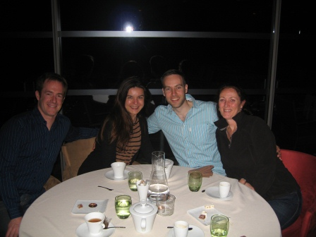 Patrick, Diane, Bart, and Isabel at dinner