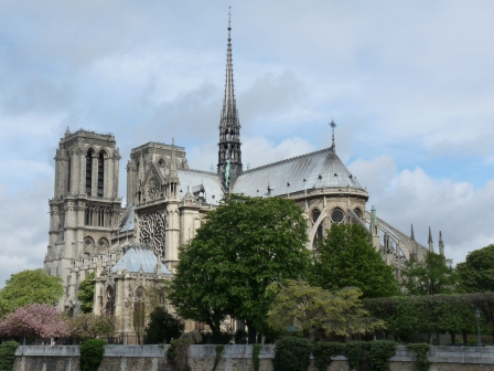 The exterior of Notre Dame Cathedral from across the river Seine