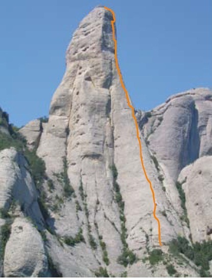 Large grey tower with orange line showing our route