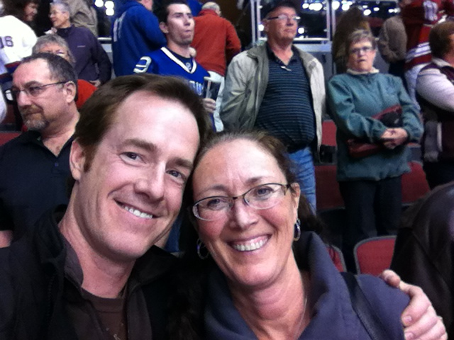 Patrick and Diane in their seats at the game