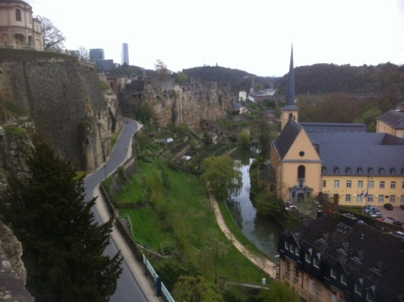 Walls of Luxembourg City with river below