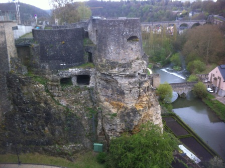 Luxembourg City walls with openings for cannons