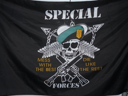 Special forces flag with words 'Mess with the best, die like the rest'