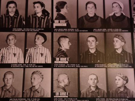 Black and white images of Auschwitz prisoners