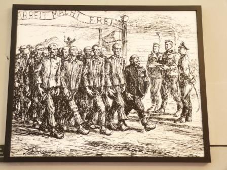 Black and white drawing by former inmate of prisoners leaving gate to walk to work