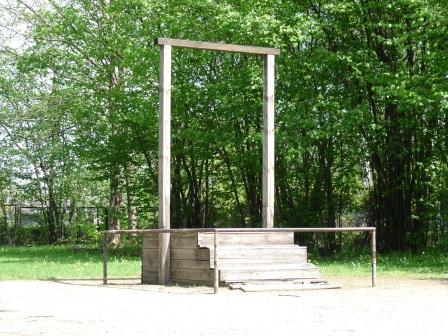 Simple wooden gallows with 4 steps on grass with green trees in background