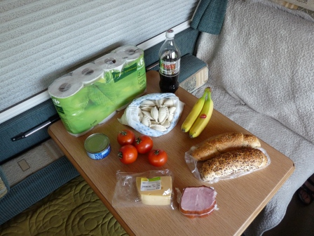 The food we purchased displayed on the table of our motorhome