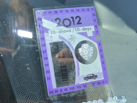 Close up of a purple and white 2012 Slovakian vignette sticker on the windor of our motorhome