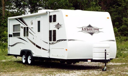 A generic white travel trailer
