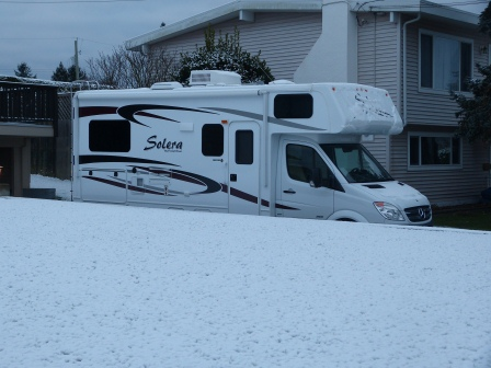 RV that appears to be deep in the snow