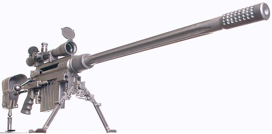 Snipre rifle on tripod legs with a white background
