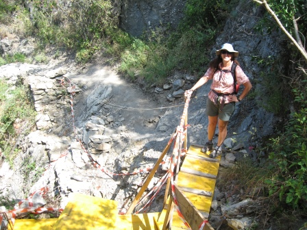 Diane standing on a yellow walkway that allows one to bypass trail construction work in progress