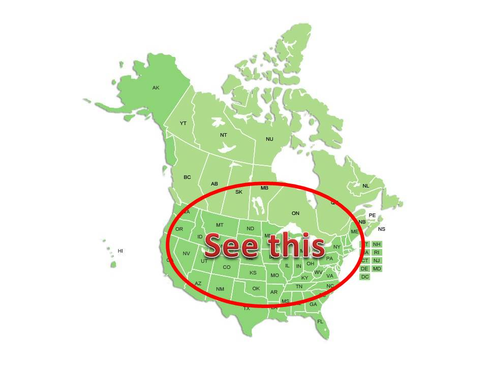 """Map of Canada and the United States with an red oval surrounding most states and provinces with the words """"See This"""" in the center"""