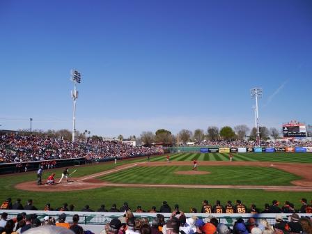 Wide shot of baseball stadium taken from 1/2 way down 1st base line