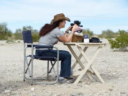Diane firing the target pistol