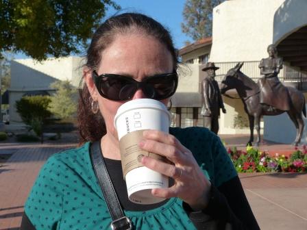 Diane drinking Starbucks