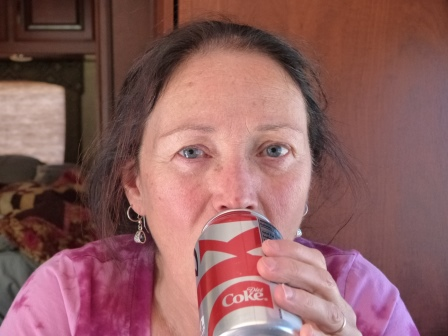 Diane drinking Diet Coke