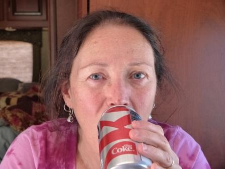 Diane drinking Diet Coke