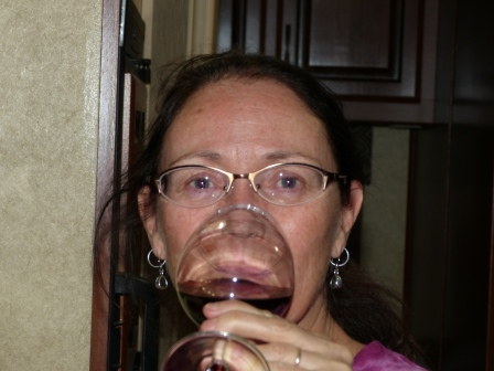 Diane drinking wine