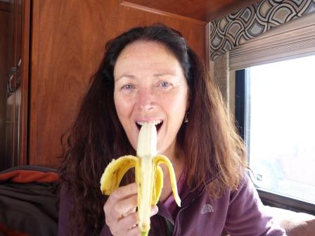 Diane eating a banana