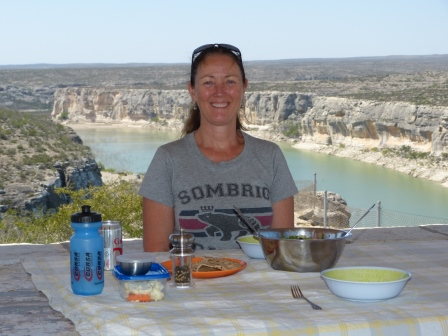 Diane about to eat lunch with Pecos River it the background