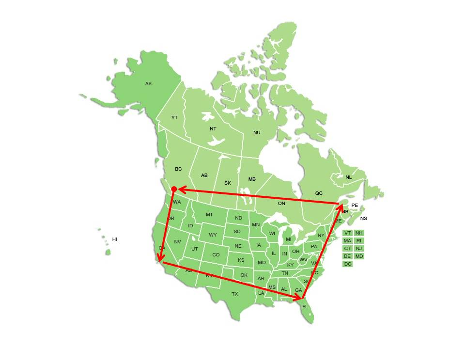 Map of Canada and the United States with lred lines around the perimiter of the Unisted States and going through the Canadian provinces