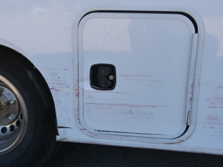 Damage to the compartments on the right side of our motorhome