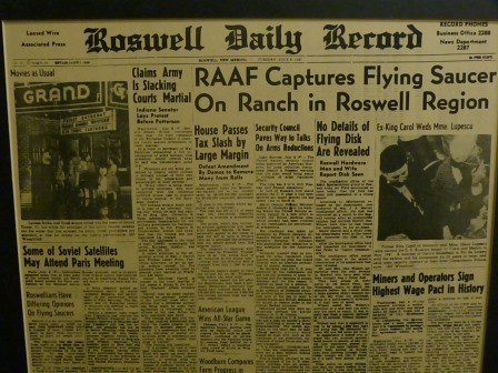 "Rowsell Daily Review newspaper front page saying ""RAAF Captures Flying Saucer on Ranch in Roswell'"