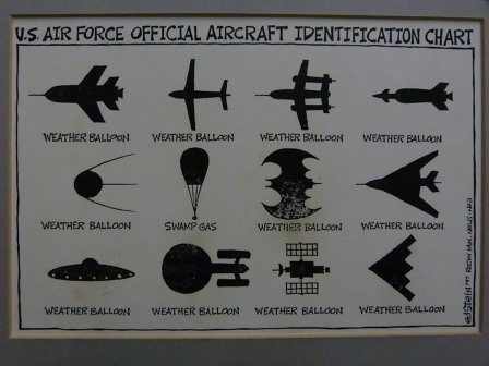 Aircraft Identification Chart showing that all planes are spacecraft are weather balloons, nad a weather baloon is swamp gas